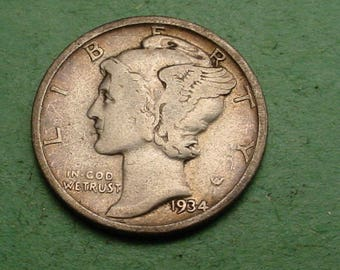 1934 Mercury Dime Fine   FREE SH In United States # ET353