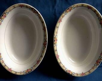 2 Vintage Homer Laughlin China Oval Vegetable Bowls - G 38 N 8