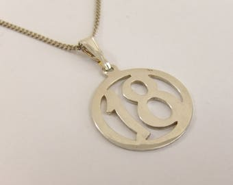 """Stylish Sterling Silver """"18"""" 18th Birthday Pendant On 18"""" Silver Chain Stock#3126"""