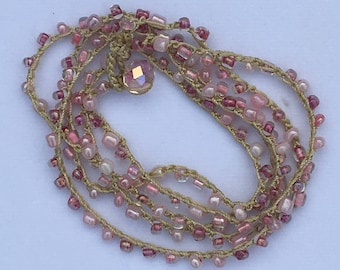 Crocheted Pink Seed Bead Necklace