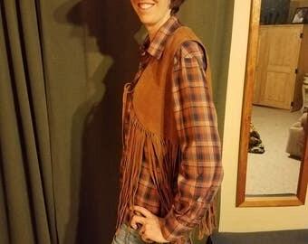 Vintage 1970's suede leather fringe vest