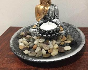 Meditating Buddha in Zen Garden with Lotus Design Tealight Candle Holder