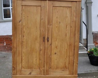 ANTIQUE  Stripped Pine KNOCK DOWN Wardrobe (flat pack plus a 50 pound voucher towards your delivery)