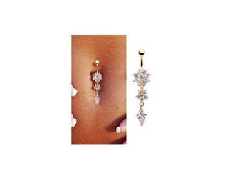 Belly Button Ring Gold Star