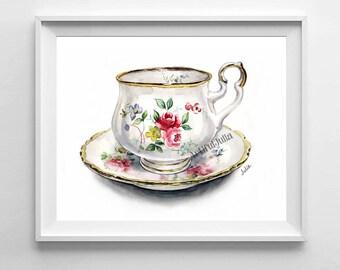 Kitchen print, Teacup art print, teacup watercolor print of original painting