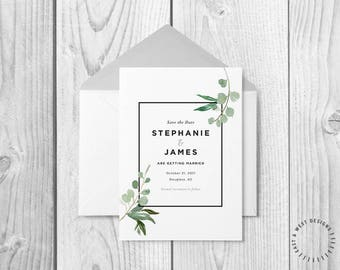 Modern Watercolor Wedding Save the Date, Watercolor Eucalyptus Save The Date Template, Printable Modern Watercolor Save The Date, Customize
