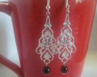 Silver, black bead drop earrings