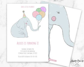 Elephant Birthday Invitation, Elephant First Birthday Party, Elephant Invitation, Elephant First Birthday Invite, Elephant Invite, Elephant