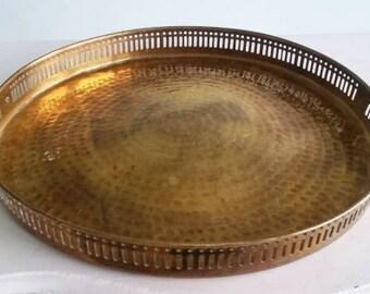 Hammered brass tray