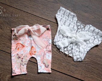 Mya Two Piece Outfit, Newborn Baby Girl, OOAK, Photography Prop, Peach Floral Trousers & Lace Top, RTS, UK Seller