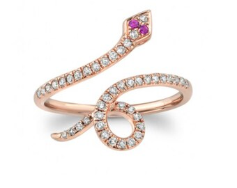 Snakes, Serpents, Snake rings, Diamonds, Rubies, 14k gold jewelry, Jewelry, Rose Gold, Serpent ring, Fine jewelry,