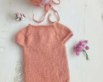 Knitted Baby Romper/Baby Girl Outfit/Knitted bonnet set/Newborn Props Romper/Photography Prop/Knitted Baby Props/Photo Prop Set/RTS