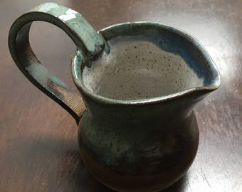 Handmade Green and Brown Speckled Ceramic Creamer