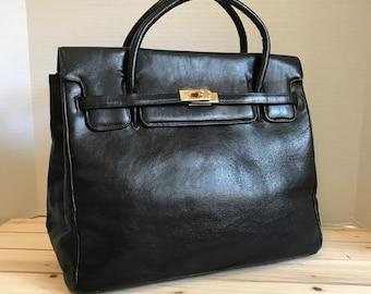 Genuine Leather Handbag / Large Satchel  Bag Black Classy Bag Birkin Style Leather Bag