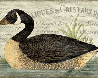 French Goose Vintage Sign Printed on Wood