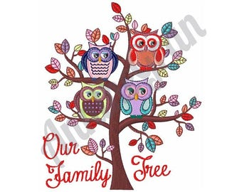 Owl Family Tree Machine Embroidery Design