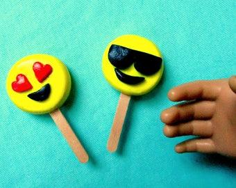 American Girl Food Emoji Ice Cream Pops, Popsicles 18 Inch Dolls, Ice Cream Shop, Ice Cream Stand, Miniature Doll Treat, Doll Dessert