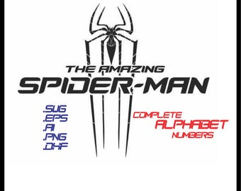 Spiderman complete alphabet and numbers in svg, eps, ai, dxf, png. INSTANT DOWNLOAD