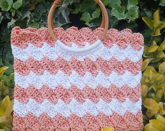 Summer melon and cream bag with wooden handles