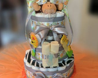 Diaper Cake (Neutral- Jungle/ Safari) for new baby: Perfect Baby Shower Gift for Mommy-to-be