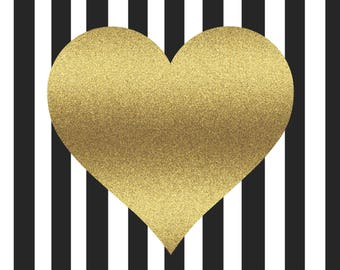 Desktop Wallpaper Heart Gold / Desktop Print Art