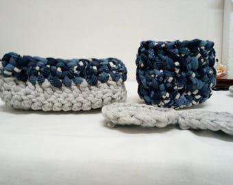 2 tone Ribbon baskets set