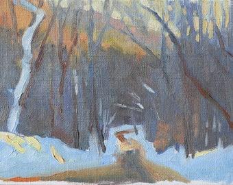 Original Painting 6x8 Winter Landscape Road Trees Forest New England Sunset Blue Orange Landscape Painting Landscape Landscape Painting Oil