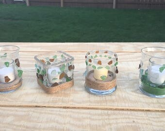 Unique Sea glass Candle holders