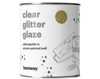 Hemway 1L Clear Glitter Paint Glaze for Pre-Painted Walls  - Gold