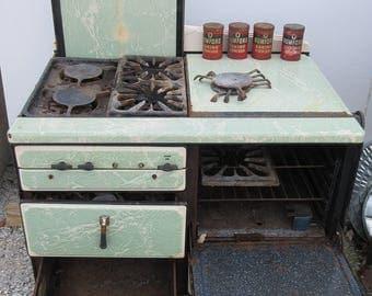 Vintage antique porcelain cast iron Norge gas stove