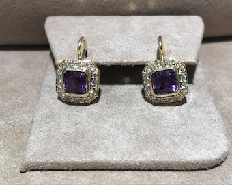 Amethyst & Diamond Lever Back Earrings