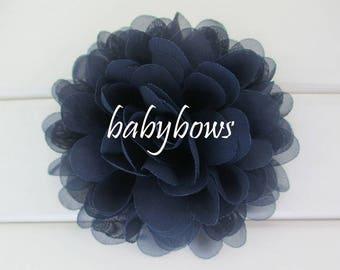2 Navy Dark Blue Big Flower Baby Girl Flower Hair Clips 1 Pair