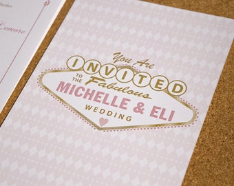 Las Vegas Wedding Invitations, Gold and Blush Wedding Invitations. Unique Design Wedding Invitations, Las Vegas Poker Wedding Invitations
