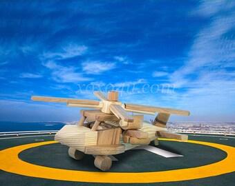 Деревянная игрушка вертолет военный.  Wooden toy helicopter military