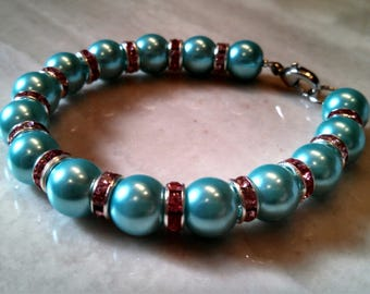 Turquoise pearl with rhinestone crystal colored rondelle bracelet