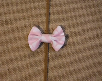 Pink and White Bow Clip