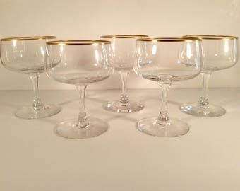 Vintage Fostoria Coupe Champagne Gold Rim Crystal Set of 5 Excellent Rehearsal Pattern