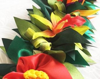Ribbon Lei Hawaiian Lei Flower Lei Hawaiian Deco Gifts Wall Art Two Way Lei and Wall Deco