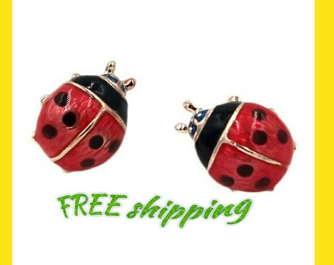 Hot Selling Fashion Cheap Ladybug Earrings Jewelry Lifelike Ladybug Stud Earrings For Women