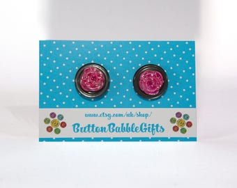 Pair of Pink Shimmer layered ROSE EARRINGS Butterfly Back HYPOALLERGENIC Jewellery, ButtonBabbleGifts