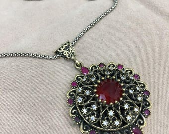 Ottoman Style Handmade Silver Necklace With Ruby