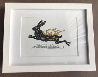 Original artwork - Ink Drawing - The Burning Hare