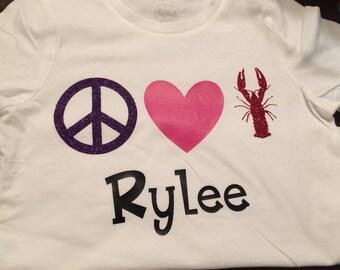 Peace,Love,& crawfish shirt