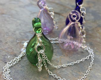 Potion Bottle Necklace on Sterling Silver Chain, Swarovski Crystal Charm, Choose Green, Light Pink, Cobalt Blue or Lavender
