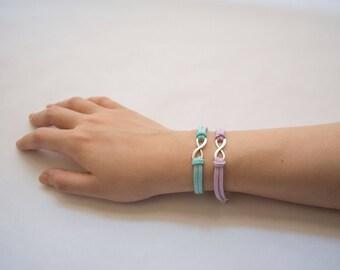Pair of Silver Infinity Suede Bracelet