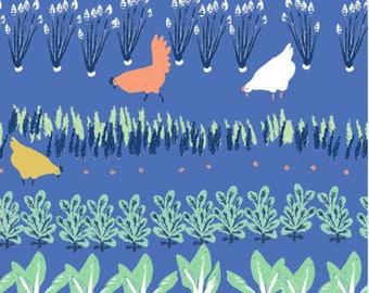 Organic fabric, Homestead fabric, Birch organic fabric, baby fabric, chicken fabric, garden fabric, harvest fabric, vege garden fabric