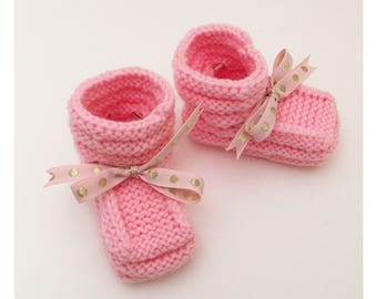 Pink Baby Booties | Knitted Newborn Booties |  Hand Knitted Baby Slippers | Baby Shower Gift | Baby Announcement