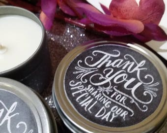 20 Large 4oz candle wedding favour, customised wedding, personalised wedding bonbonniere, soy candle tin, thank you favour,made in Australia
