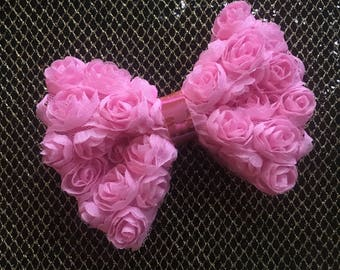 Pink rose flower poofy bow