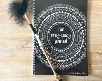 Boho Pregnancy journal keepsake book monochrome